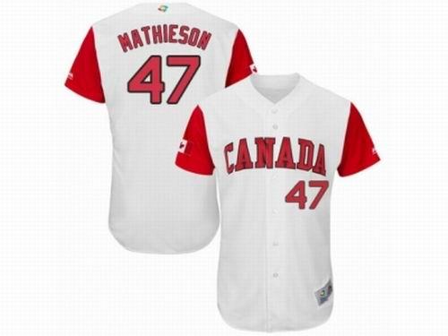 Canada Baseball Majestic #47 Scott Mathieson White 2017 World Baseball Classic Team Jersey