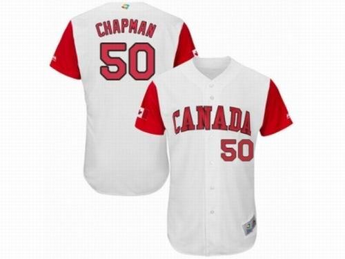 Canada Baseball Majestic #50 Kevin Chapman White 2017 World Baseball Classic Team Jersey