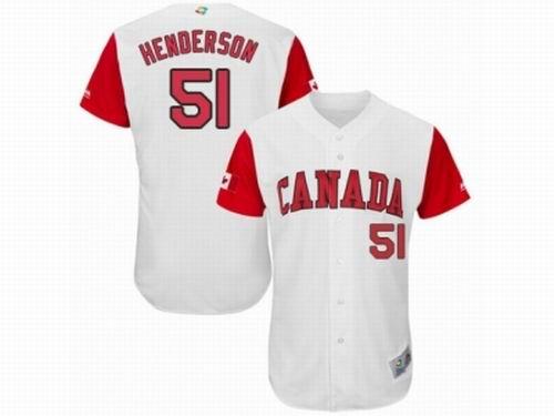 Canada Baseball Majestic #51 Jim Henderson White 2017 World Baseball Classic Team Jersey