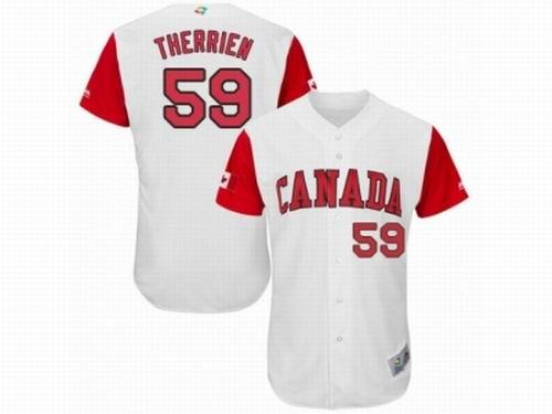 Canada Baseball Majestic #59 Jessen Therrien White 2017 World Baseball Classic Team Jersey