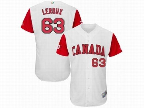 Canada Baseball Majestic #63 Chris Leroux White 2017 World Baseball Classic Team Jersey