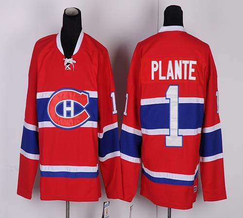 Canadiens #1 Jacques Plante Red CH CCM Throwback Stitched NHL Jersey