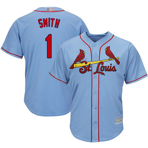 Cardinals #1 Ozzie Smith Light Blue Cool Base Stitched Youth Baseball Jersey