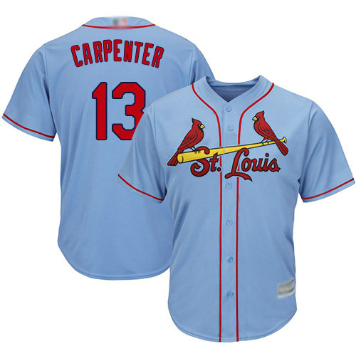 Cardinals #13 Matt Carpenter Light Blue Cool Base Stitched Youth Baseball Jersey