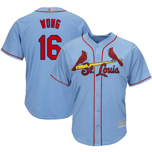 Cardinals #16 Kolten Wong Light Blue Cool Base Stitched Youth Baseball Jersey