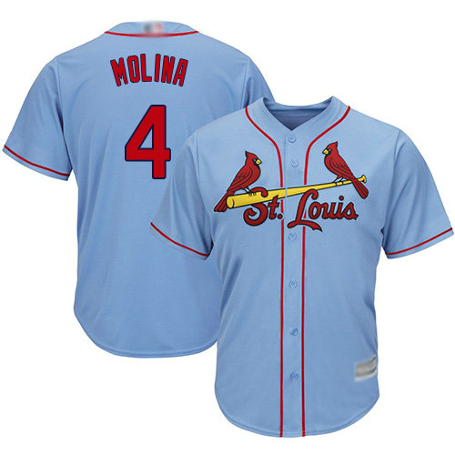 Cardinals #4 Yadier Molina Light Blue Cool Base Stitched Youth Baseball Jersey