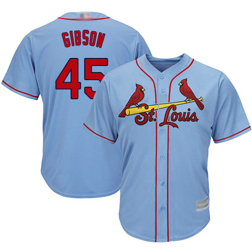 Cardinals #45 Bob Gibson Light Blue Cool Base Stitched Youth Baseball Jersey