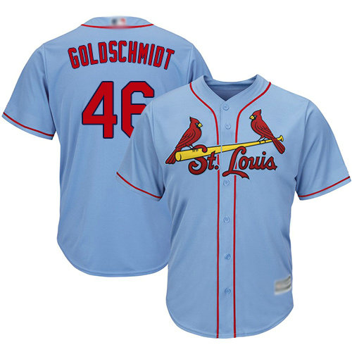 Cardinals #46 Paul Goldschmidt Light Blue Cool Base Stitched Youth Baseball Jersey