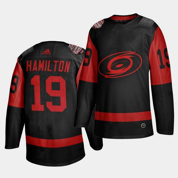 Carolina Hurricanes #19 Dougie Hamilton Black Men's 2021 Stadium Series Outdoor Game Jersey