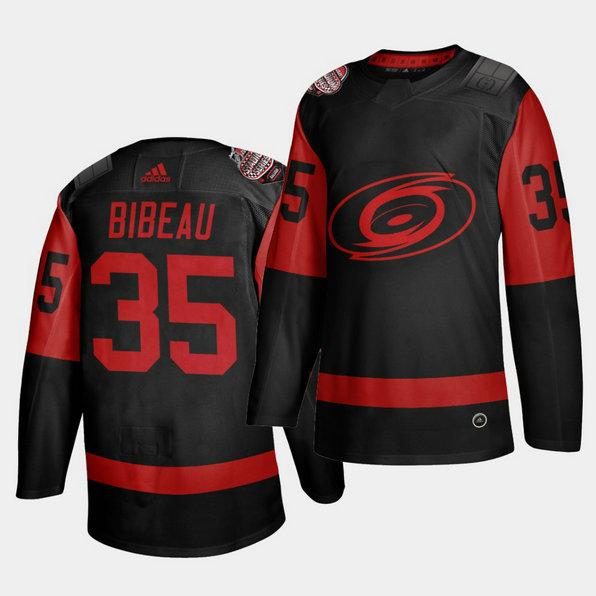 Carolina Hurricanes #35 Antoine Bibeau Black Men's 2021 Stadium Series Outdoor Game Jersey