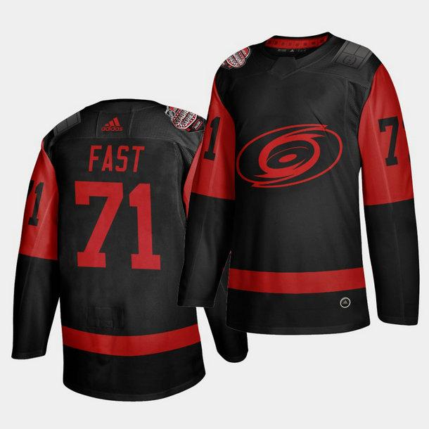 Carolina Hurricanes #71 Jesper Fast Black Men's 2021 Stadium Series Outdoor Game Jersey