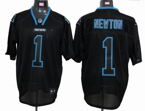 Carolina Panthers #1 Cam Newton Lights Out Black Jersey