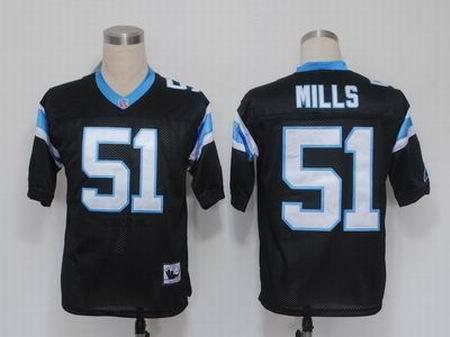 Carolina Panthers 51 Sam Mills Black M&N jerseys