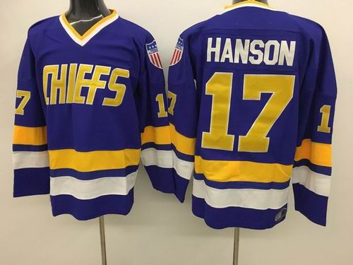 Charlestown Chiefs #17 Steve Hanson Movie Hockey Blue Jersey