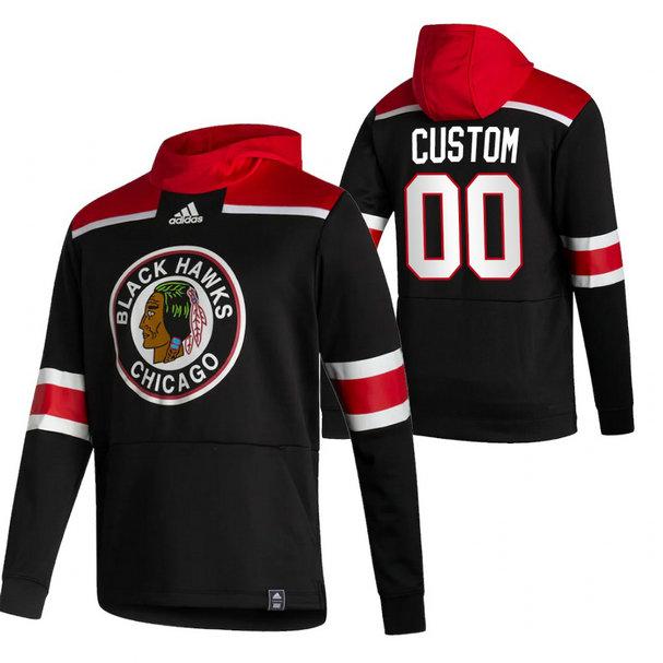Chicago Blackhawks Custom Adidas Reverse Retro Pullover Hoodie Black