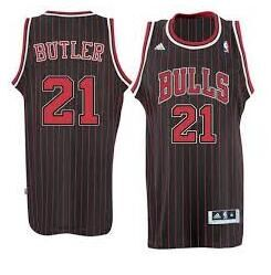 Chicago Bulls #21 Jimmy Butler Black red strip Jersey