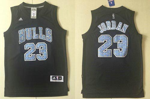 Chicago Bulls 23 Michael Jordan Black Diamond Fashion NBA Jersey
