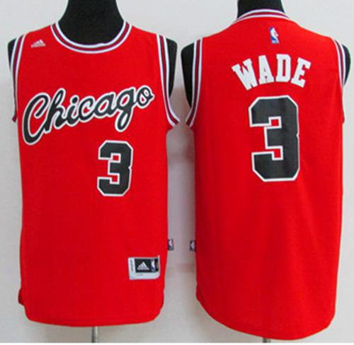 Chicago Bulls 3 Dwyane Wade Red Crabbed Typeface Throwback NBA Jersey