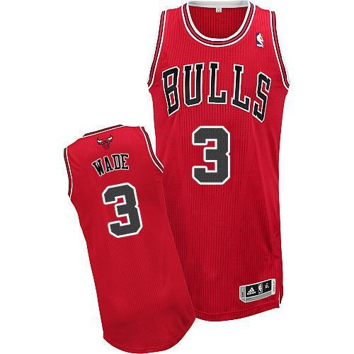 Chicago Bulls 3 Dwyane Wade Red NBA Jersey