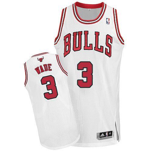 Chicago Bulls 3 Dwyane Wade White NBA Jersey