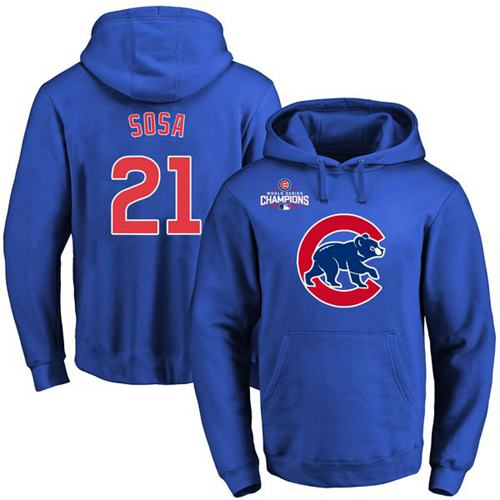 Chicago Cubs 21 Sammy Sosa Blue 2016 World Series Champions Primary Logo Pullover MLB Hoodie