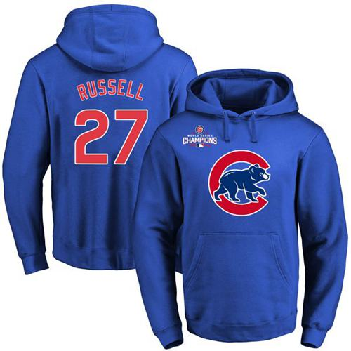 Chicago Cubs 27 Addison Russell Blue 2016 World Series Champions Primary Logo Pullover MLB Hoodie