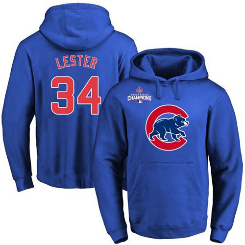 Chicago Cubs 34 Jon Lester Blue 2016 World Series Champions Primary Logo Pullover MLB Hoodie