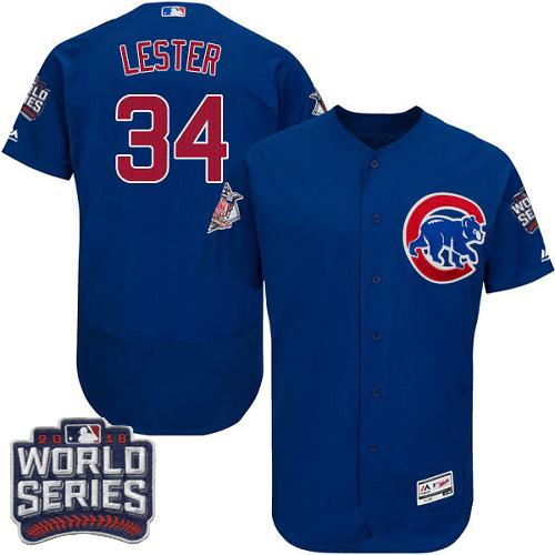 Chicago Cubs 34 Jon Lester Blue Flexbase Authentic Collection 2016 World Series Bound MLB Jersey