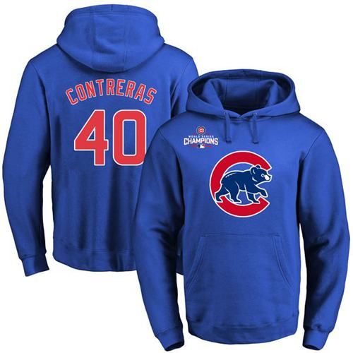 Chicago Cubs 40 Willson Contreras Blue 2016 World Series Champions Primary Logo Pullover MLB Hoodie