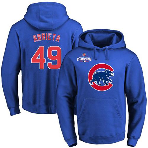 Chicago Cubs 49 Jake Arrieta Blue 2016 World Series Champions Primary Logo Pullover MLB Hoodie