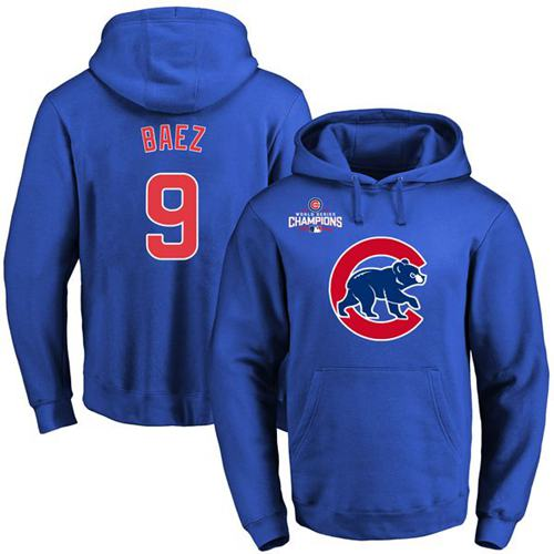 Chicago Cubs 9 Javier Baez Blue 2016 World Series Champions Primary Logo Pullover MLB Hoodie