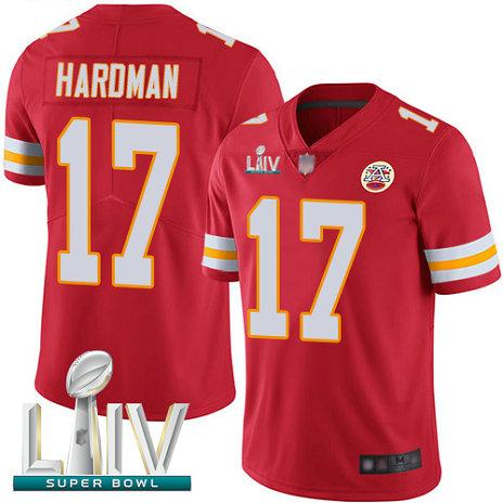 Chiefs #17 Mecole Hardman Red Team Color Super Bowl LIV Bound Men's Stitched Football Vapor Untouchable Limited Jersey
