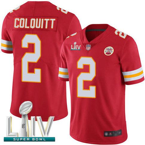 Chiefs #2 Dustin Colquitt Red Team Color Super Bowl LIV Bound Men's Stitched Football Vapor Untouchable Limited Jersey
