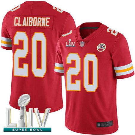 Chiefs #20 Morris Claiborne Red Team Color Super Bowl LIV Bound Men's Stitched Football Vapor Untouchable Limited Jersey
