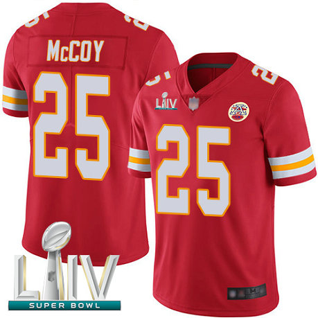 Chiefs #25 LeSean McCoy Red Team Color Super Bowl LIV Bound Youth Stitched Football Vapor Untouchable Limited Jersey