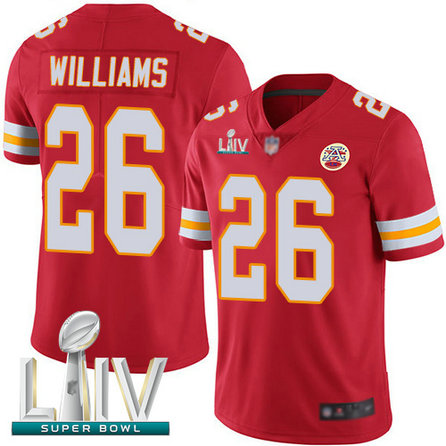 Chiefs #26 Damien Williams Red Team Color Super Bowl LIV Bound Men's Stitched Football Vapor Untouchable Limited Jersey