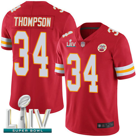Chiefs #34 Darwin Thompson Red Team Color Super Bowl LIV Bound Men's Stitched Football Vapor Untouchable Limited Jersey