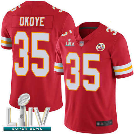 Chiefs #35 Christian Okoye Red Team Color Super Bowl LIV Bound Men's Stitched Football Vapor Untouchable Limited Jersey