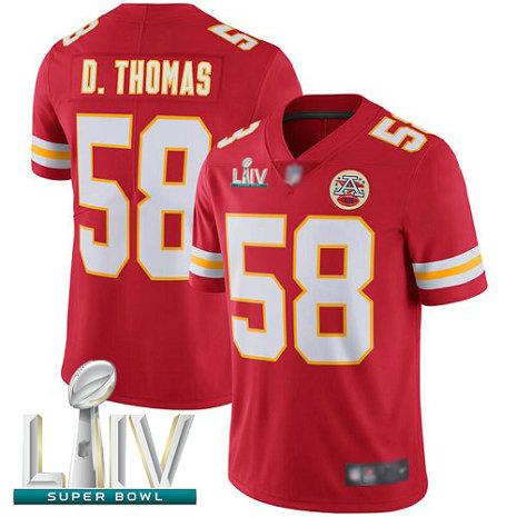 Chiefs #58 Derrick Thomas Red Team Color Super Bowl LIV Bound Men's Stitched Football Vapor Untouchable Limited Jersey
