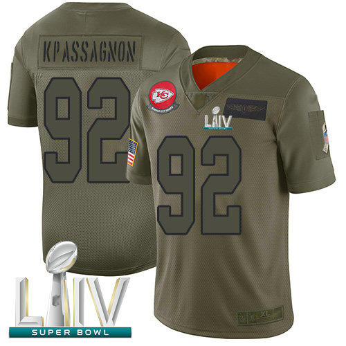 Chiefs #92 Tanoh Kpassagnon Camo Super Bowl LIV Bound Youth Stitched Football Limited 2019 Salute to Service Jersey