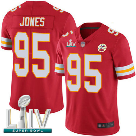 Chiefs #95 Chris Jones Red Team Color Super Bowl LIV Bound Youth Stitched Football Vapor Untouchable Limited Jersey