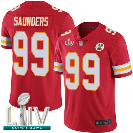 Chiefs #99 Khalen Saunders Red Team Color Super Bowl LIV Bound Men's Stitched Football Vapor Untouchable Limited Jersey