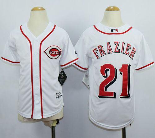 Cincinnati Reds 21 Todd Frazier White Cool Base Kid MLB Jersey