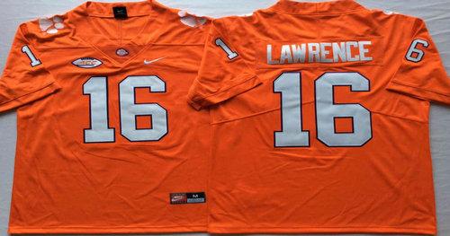 Clemson Tigers 16 Trevor Lawrence Orange Nike College Football Jersey