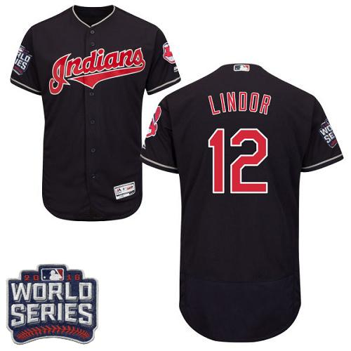 Cleveland Indians 12 Francisco Lindor Navy Blue Flexbase Authentic Collection 2016 World Series Bound MLB Jersey