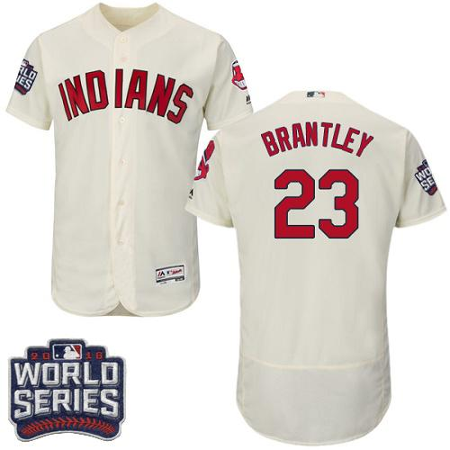 Cleveland Indians 23 Michael Brantley Cream Flexbase Authentic Collection 2016 World Series Bound MLB Jersey