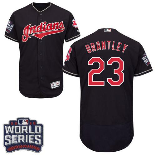 Cleveland Indians 23 Michael Brantley Navy Blue Flexbase Authentic Collection 2016 World Series Bound MLB Jersey