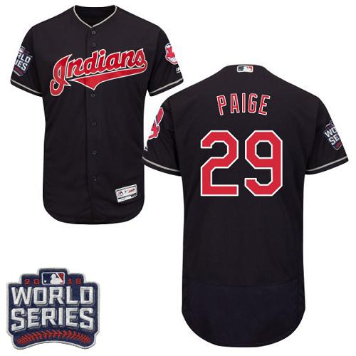 Cleveland Indians 29 Satchel Paige Navy Blue Flexbase Authentic Collection 2016 World Series Bound MLB Jersey