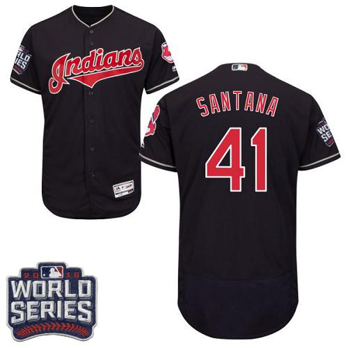 Cleveland Indians 41 Carlos Santana Navy Blue Flexbase Authentic Collection 2016 World Series Bound MLB Jersey