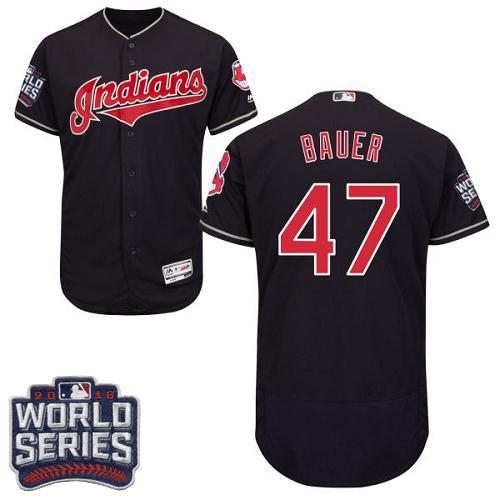 Cleveland Indians 47 Trevor Bauer Navy Blue Flexbase Authentic Collection 2016 World Series Bound MLB Jersey